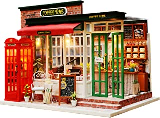 Wooden DIY Dollhouse Toy Miniature Box Puzzle Dollhouse DIY Kit Doll House Furniture Coffee Shop Model Gift Toy for Children