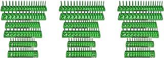 Hansen Global 92001 SAE & Metric, 2-Row Socket Tray Set - 6-Pieces, Green (Three Pack)