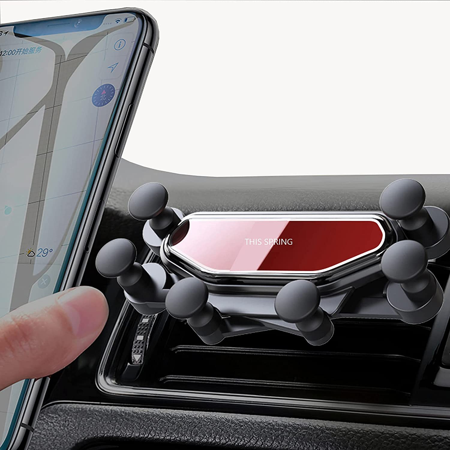 LUVIN Phone Holder for Car 2021 Upgraded Gravity Phone Holder for Car Mount Mount with One Hand Operation Design Vent with Hook Clip Auto Lock Hands Free Air Vent Cell Phone Car for Smartphone Mobile