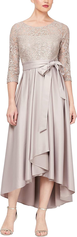 Alex Evenings Women's Satin Ballgown Dress with Sleeve (Petite and Regular Sizes)