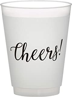 SB Design Studio D2205 Sips Drinkware 16-Ounce Frosted Plastic Cups, 8-Count, Cheers