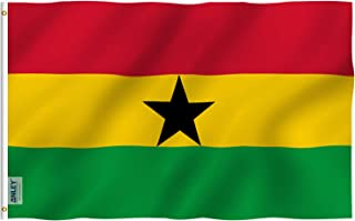 Anley Fly Breeze 3x5 Foot Ghana Flag - Vivid Color and UV Fade Resistant - Canvas Header and Double Stitched - Ghanaian National Flags Polyester with Brass Grommets 3 X 5 Ft