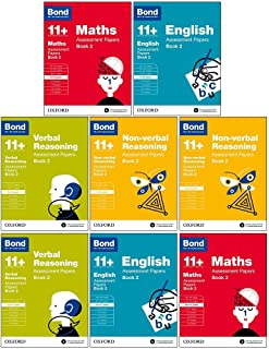 Bond 11+:Assessment Papers Book 2 Year 9-11 Bundle -8 Books Collection Set :English, Maths, Non-verbal Reasoning, Verbal Reasoning