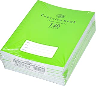 FIS Exercise Books 5 mm Square with Left Margin, 120 Pages, Pack of 12 Pieces, 16.5 x 21 cm Size - FSEBSQ05120N