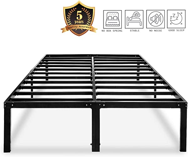 Metal Platform Bed Frame Queen Size Heavy Duty 14 Inch Beds No Box Spring Steel Slat Frames With Storage Black