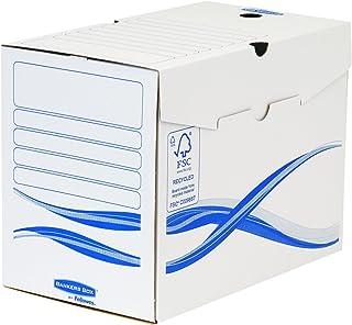 Fellowes 4460402 Boîte d'archives Banker Box Basic A4 montage manuel - Dos de 20cm Blanc/Bleu (lot de 25)