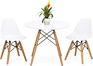 Best Choice Products Kids Mid-Century Modern Dining Room Round Table Set w/ 2 Armless Wood Leg Chairs, White