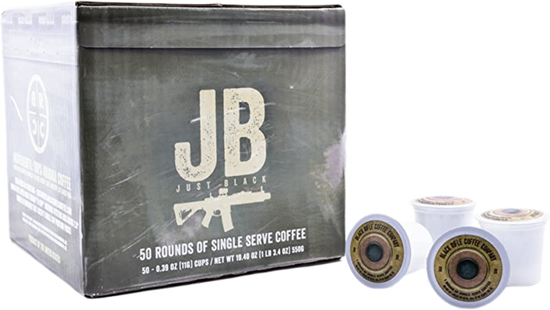 Black Rifle Coffee Company JB Just Black Coffee Rounds For Single Serve Brewing Machines 50 Count Dark Roast Coffee Pods Cups