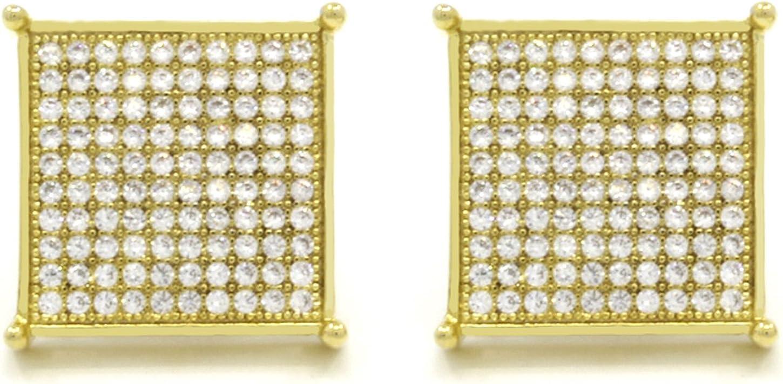 Mens 18mm Tc10 Gold Tone Cz Micro Pave Table Square Stud Earrings Screw Backs (10 Lines) table Corner