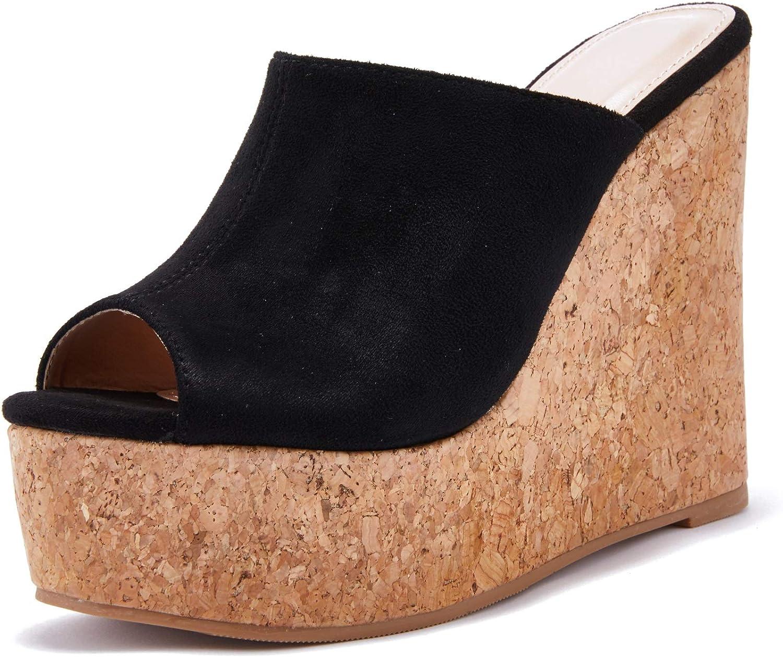 LAICIGO Womens Wedge Platform Slide on Open San Antonio Mall Cork Albuquerque Mall Fau Toe Sandals