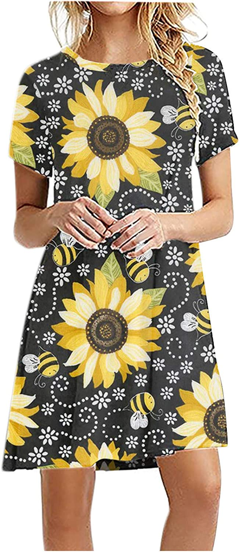 Toeava Summer Dresses for Women, Casual Short Sleeve Flower Print Swing Dresses Daily Comfy Beach Party Dress Sundress