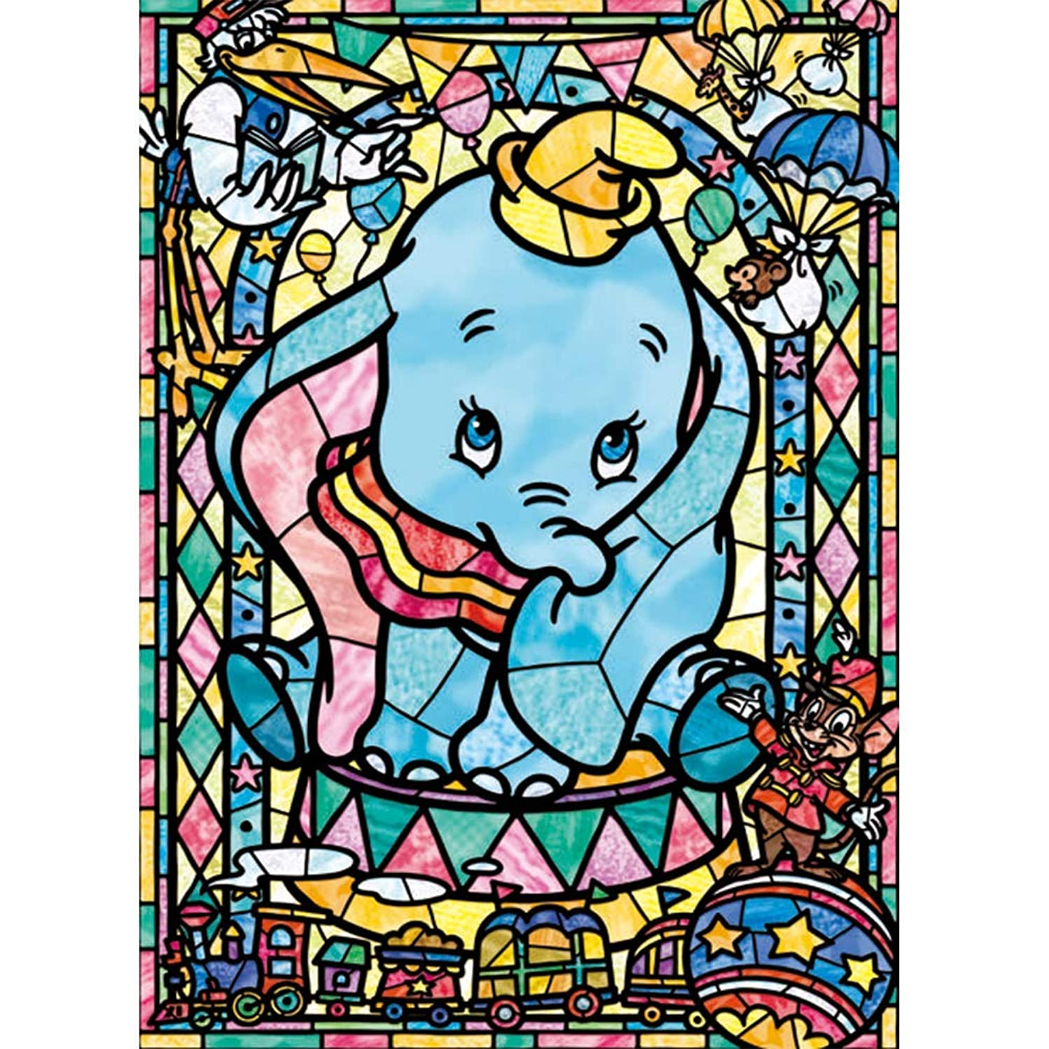 20x14Inch DIY 5D Diamond Paint by Numbers Kits Disney Dumbo The Flying Elephant DIY 5D Diamond Canvas Painting by Number Full Drill Crystal Rhinestone Diamond Embroidery Paint by Numbers Disney Jumbo