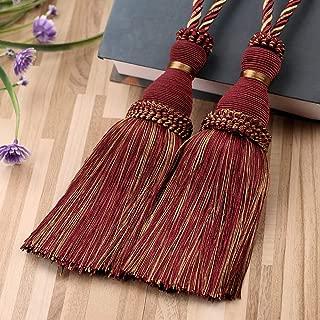 KISENG Curtain Tassel Tiebacks, Beaded Tassels Curtain Tiebacks Rope Holdbacks for Bedroom,Tassels Curtain Tiebacks,Set of 2 (Red)