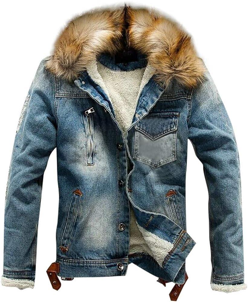 Men's Denim Jacket with Fur Collar Long Sleeve Warm Thick Coat for Autumn Winter MODOOQ