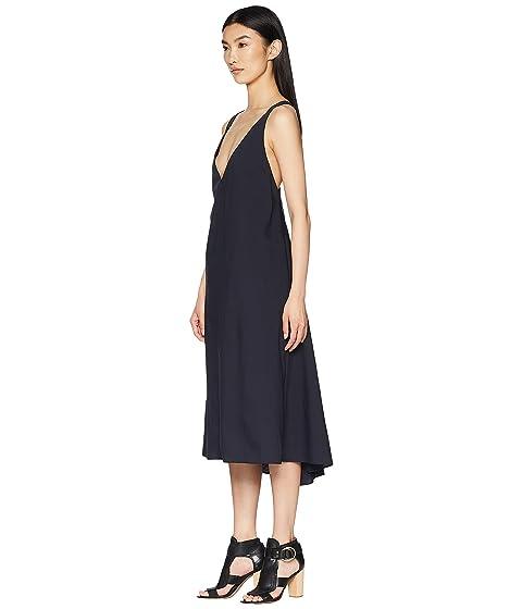 Jil Sander Navy V Neck Dress With Braces At The Back At Luxury