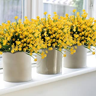 6Pack Artificial Flower Fake Yellow Daffodils Greenery Shrubs Plants Plastic Bushes Indoor Outside Decor