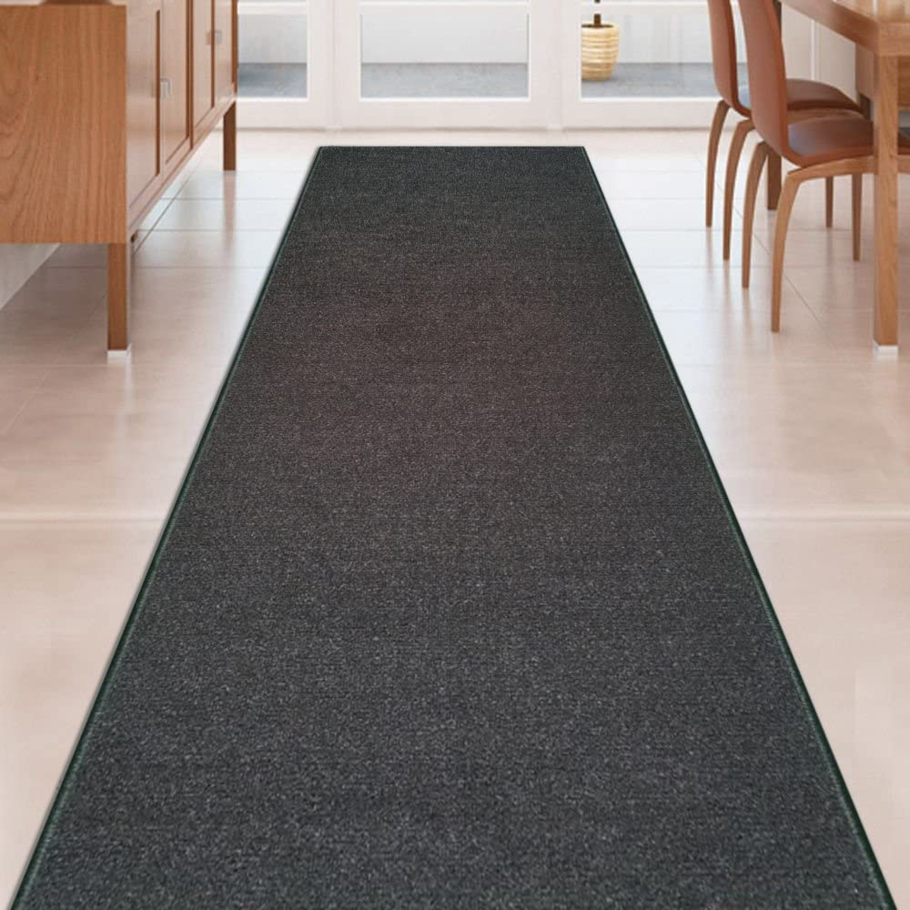 Black Solid Plain Tulsa Mall Rubber New sales Backed Kitchen Hallway R Stair Non-Slip