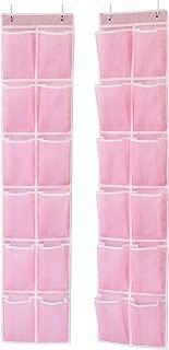 Simple Houseware 24 Pockets - 2PK 12 Large Pockets Over Door Hanging Shoe Organizer, Pink (58'' x 12.5'')