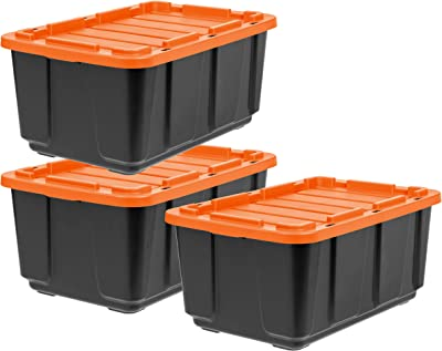 IRIS USA UTB-27 27 Gallon Large Heavy-Duty Storage Plastic Bin Tote Organizing Container with Durable Lid and Secure Latching Buckles, Black/Orange, 3