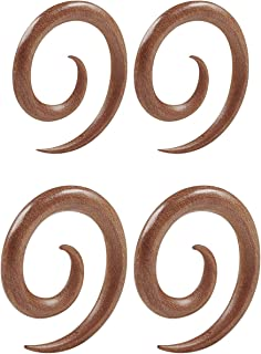 BIG GAUGES Pair of Sawo Woods Taper Spiral Coil Piercing Jewelry Ear Stretching Expander Earring Stretcher Two Size Lobe Plugs