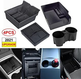 (Pack of 4)3PCS Center Console Organizer Tray Fit For Latest 2021 Tesla model 3/Y Armrest Hidden Cubby Drawer Storage Box Flocked,1PCS 2021 Tesla Model 3/Y Center Console Silicone Cup Holder Insert