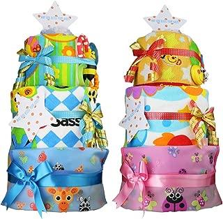 Sassy (サッシー ) おむつケーキ 豪華3段 名入れ刺繍 70´s 歯固め 付 ピンク パンパースM アイテム 4点 [ ビブ ウォッシュタオル ループ付タオル レディバグ ]