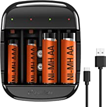 AA and AAA Battery Charger, Zanflare C4A Battery Charger for AA AAA NiMH NiCD Batteries & Li-ion 9V Rechargeable Batteries, USB High-Speed Charging, Independent Slot (No Adapter)