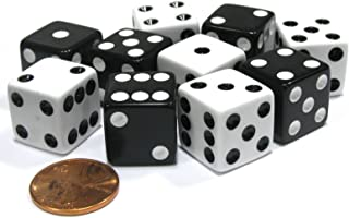 Set of 10 Six Sided 16mm D6 Dice - 5 Black w White Pip and 5 White w Black Pip by Koplow Games