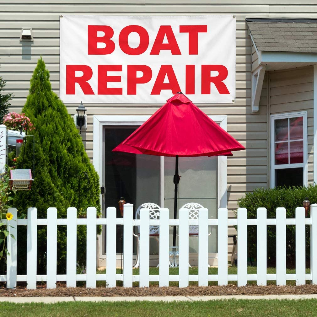 Vinyl Banner Multiple Sizes Boat Repair Red B Business Outdoor Weatherproof Industrial Yard Signs 8 Grommets 48x96Inches