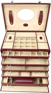 Windrose Merino Schmuckkoffer 6 Etagen mit integrierter Schmucktasche 37 cm