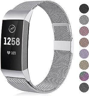 Funbiz Compatibel met Fitbit Charge 3 Bandje, Metalen Vervangingsband Polsbandjes voor Fitbit Charge 3, Heren Dames Klein ...