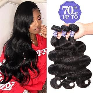 Semmely 8A Brazilian Body Wave Human Hair 3 Bundles Virgin Hair Weave 12 14 16inch Human Hair Bundles 300g Natural Black