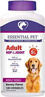 Essential Pet Products Adult Dog Hip & Joint Support Chewable Tablet Age 5+ with 500mg Glucosamine and 400mg Chondroitin, ...