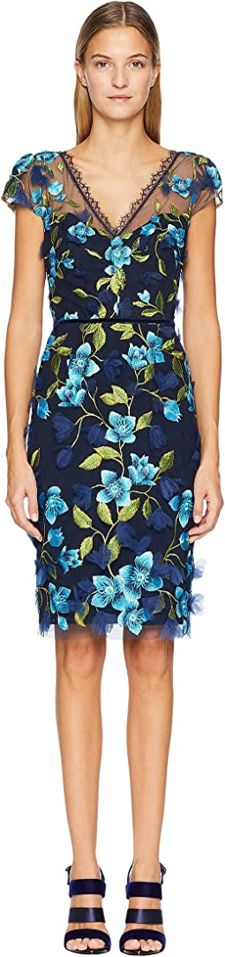 Cap Sleeve 3D Floral Cocktail Dress
