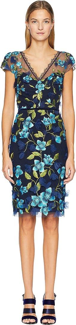 Cap Sleeve 3D Floral Cocktail Dress