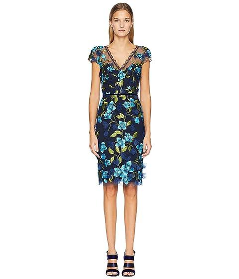 Marchesa Cap Sleeve 3D Floral Cocktail Dress