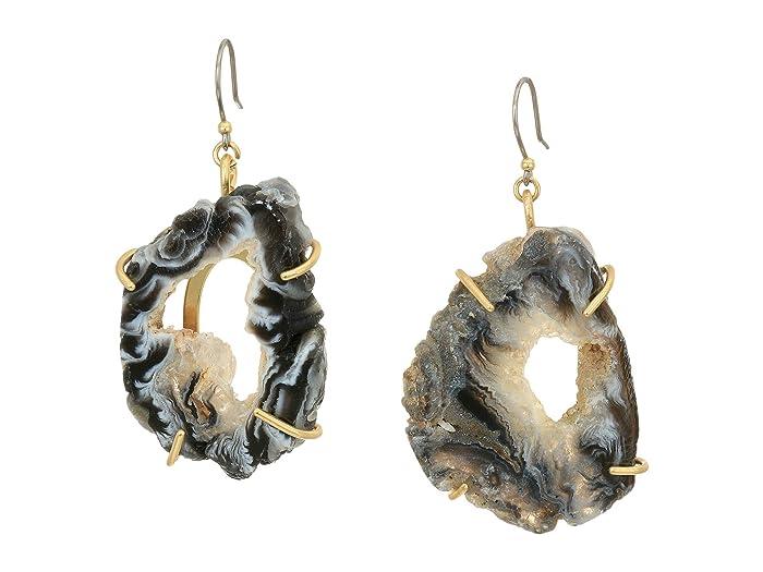 Lucky Brand  White Agate Stone Open Drop Earrings (Gold) Earring