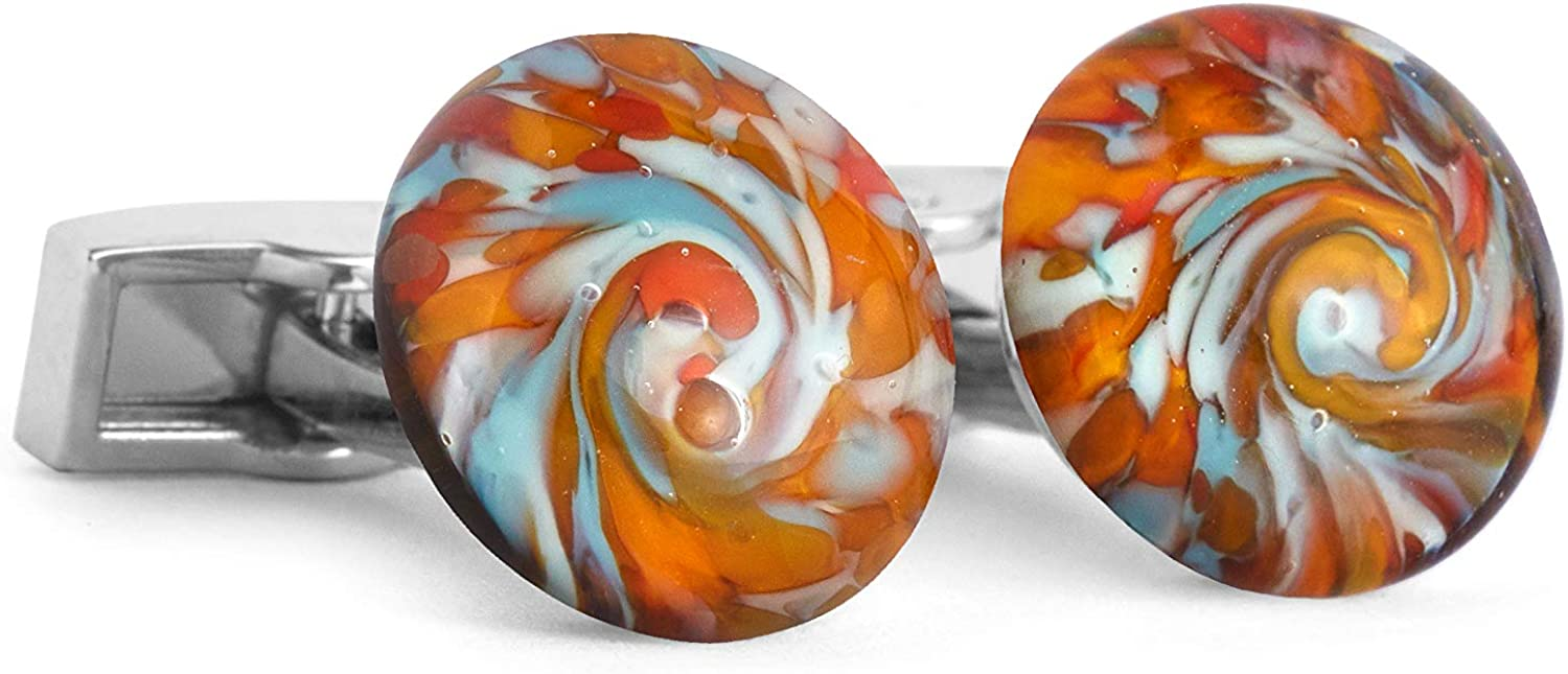 Fenton Glass collection of hand crafted men's cuff links,