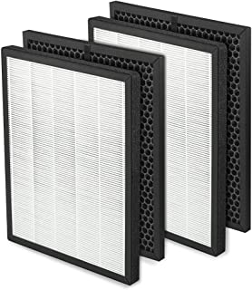 DerBlue 2 Sets True HEPA Filter Replacement Compatible with LV-PUR131, Activated Carbon Filters Set, Part # LV-PUR131-RF