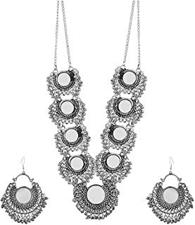 Ethnic Fashion Handmade Statement Tibetan Indian Turkish Tribal Silver Oxidized Mirror Necklace with Earrings