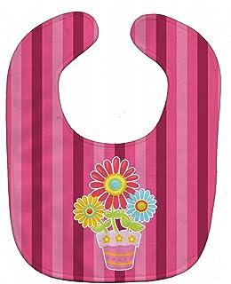 Caroline's Treasures Flower Pot Baby Bib, Pink, Large