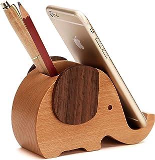 Diagtree Elephant Shape Phone Holder Wooden Pen Pencil Holder Cute, Mini Delicate Wood Moile Phone Stand Desktop Pencil Ho...
