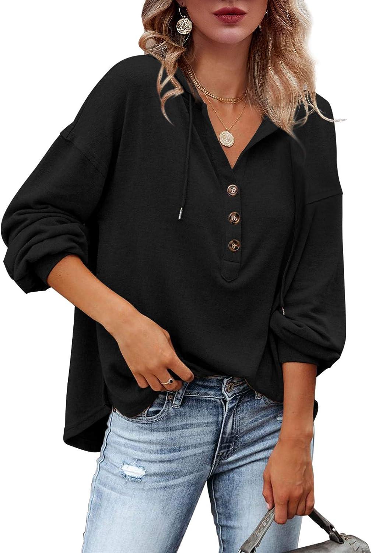 Tutorutor Women's Oversized Long Sleeve Deep V Neck Henley Shirts Button Down Sweatshirt Hoodies Pullover Tops