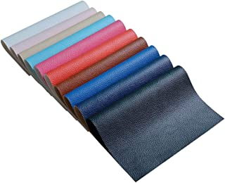 10 Pieces A4 Size Solid Color 1.2MM Thickness Litchi Grain Texture Synthetic Faux Leather Fabric Sheets Cotton Back for Making Hair Bows, Earrings, Placemats,10 Color Each Color One Sheet