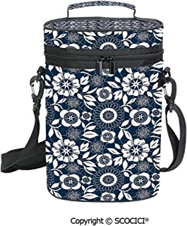 SCOCICI Insulated Cooler Carrier - 2 Bottles Wine Tote Bag,Ornamental Lace Crochet Flowers with Round Patters Bohemian Victorian Style,Great for Picnics and Outdoor Entertaining