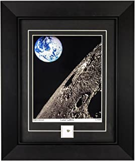 CENTURY CONCEPT The Moon's View of Earth Historic Framed Print and Relic Wall Decor for Collectors   Includes a Lunar Rock and Certificate of Authenticity