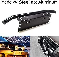 iJDMTOY Bull Bar Style Stainless Steel Front Bumper License Plate Mount Bracket Holder For Off-Road Lights, LED Work Lamps, LED Lighting Bars, etc (Black, Universal Fit)