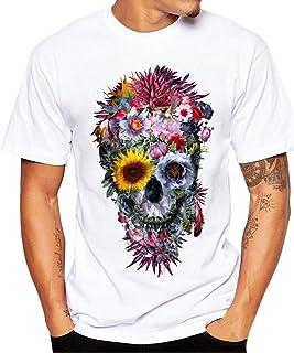 Fannyfuny camiseta Hombres Mujeres Pareja Camiseta de Manga Corta Moda Impresion Calaveras T-Shirt de Verano Cuello Redond...