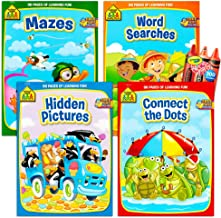 School Zone Activity Book Set Kids- 4 Books (Mazes, Connect The Dots, Hidden Pictures, Word Searches, Stickers)