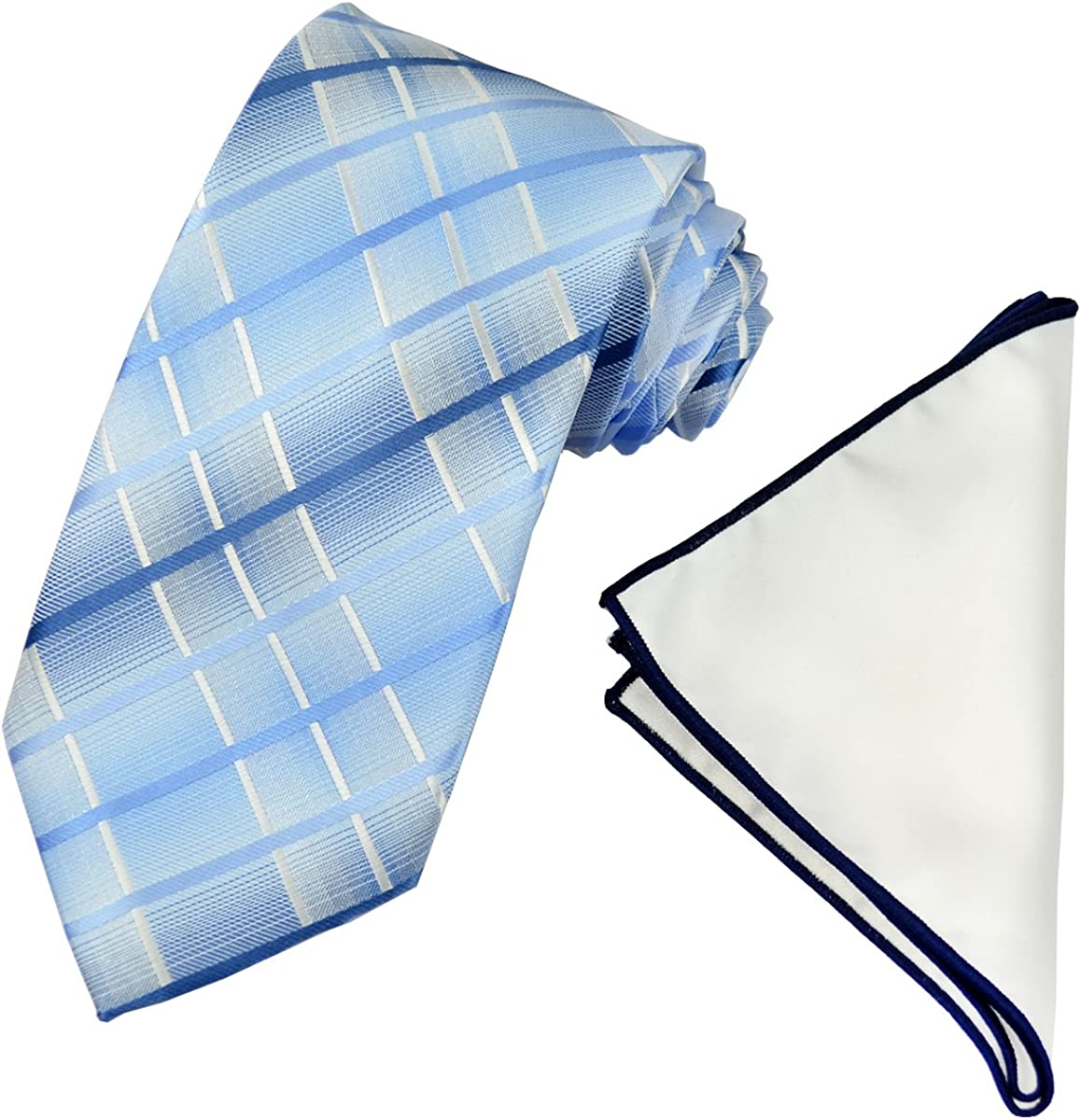 Blue and White Men's Tie with Contrast Pocket Square Set